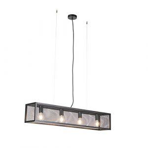 QAZQA Industriel Lampe à Suspension/Lustre/Luminaire/Lumiere/Éclairage industrielle noire avec filet à 4 lumières - Cage Acier Noir Rectangulaire E27 Max. 4 x 60 Watt/intérieur/Salon/Cui (lampeetlumiere, neuf)