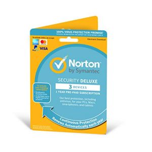Norton Security Deluxe 2019 | 3 Devices | 1 Year | Antivirus Included | PC/Mac/iOS/Android | Activation Code by Post (Aqua Reefer, neuf)