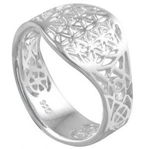 Vinani Bague - Fleur de Vie - Mandala - lustré - ouvert - Argent 925 - Taille 52 (16.6) - RLB52 (VINANI Jewels, neuf)