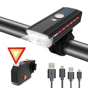 ITSHINY Lumière de Vélo USB Rechargeable - d'éclairage de Vélo de 400 Lumens Phare de vélo, Eclairage Avant avec klaxon, Feux Arrière à LED, étanche, Facile à Installer pour Le Cyclisme en Montagne (ITSHINY FR, neuf)