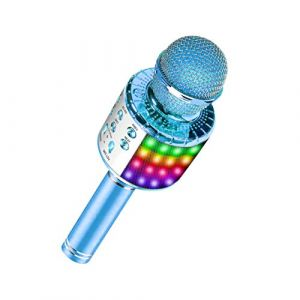 Microphone karaoké sans fil Bluetooth avec lumières LED multicolores, micro de machine de karaoké portable 4 en 1 pour enfants adultes, pour Android/iPhone/PC (Blue) (EastEagleTechnology, neuf)