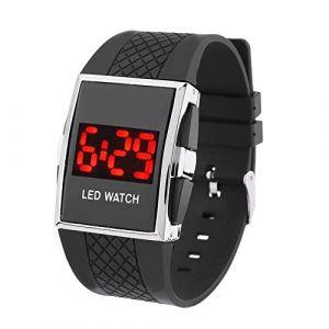 Montre LED Bande de silicone LED Digital Date Calendar Sportif Electronic Unisexe Montre-bracelet (Color : Black+Black) (AiSiWeiDianZi, neuf)