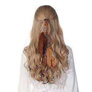Bandeau en plumes coiffe hippie indienne - coiffes en plumes à gland Boho pour femmes Costume Festival chapeaux (café) (anjerry, neuf)