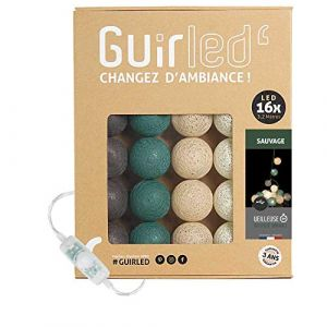 Guirlande Lumineuse boules coton LED USB - Chargeur double USB 2A inclus - 3 intensités - 16 boules - Sauvage (Lighting Arena, neuf)