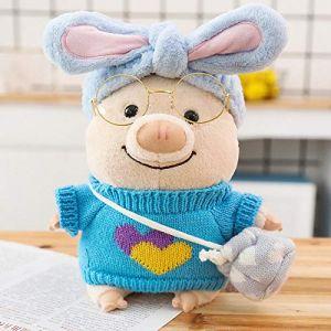Petit cochon en peluche jouet créatif poupée mignon cochon poupée Saint Valentin cadeau-bleu amour pull_25cm (lizhaowei531045832, neuf)