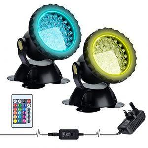 Lychee RGB Projecteur Aquarium,sous-Marine Eclairage Submersible pour Poisson, LED étanche IP68 Lampe Angle Réglable Lumière avec Télécommande pour Jardin Pond Piscine Fontaine (2 Pack) (Lycheer, neuf)