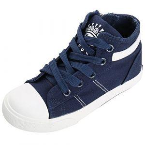 Kentti Mixte Enfant Garçon Mode High-Top Haute Toile PU Sneakers Basket Chaussures Bleu, 27 EU (Kentti, neuf)