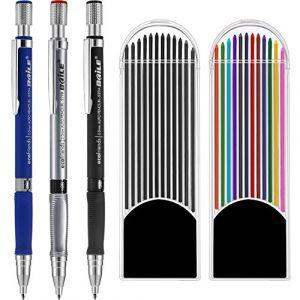 3 Pièces de 2,0 mm Crayon Mécanique avec 2 Étuis Recharges de Plomb, Recharges Couleur et Noir pour Projet de Dessin, l'Écriture, la Fabrication, le Dessin Artistique (CHENGU FR, neuf)