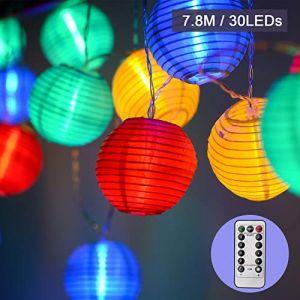 EKKONG Guirlande Lumineuses LED Lanterne à Piles Exterieur avec Télécommande & Minuteur, 30 Boules LED, Longeur 7.8M, 8 modes Guirlandes Lumineuses pour Maison Jardin (multicolore) (NaisiDirect, neuf)