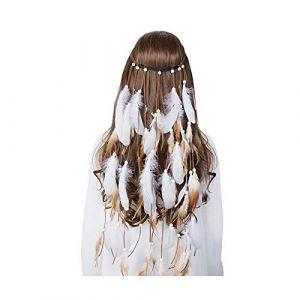 Bandeau Cheveux Femme?Bandeau En Plumes Accessoires De Cheveux Festival Femmes Hippie Coiffe Réglable Boho Bande De Cheveux En Plumes De Paon-7167- (SALUT, neuf)