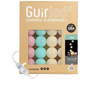 Guirlande lumineuse boules coton LED USB - Veilleuse bébé 2h - Adaptateur secteur double USB 2A inclus - 3 intensités - 16 boules 3.2m - Bébé (Lighting Arena, neuf)