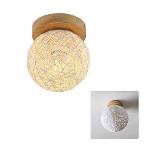 Abat-jour de plafond en rotin - Abat-jour en osier - Moderne - Petit modèle - Beige - Boule de style E27 - Support de lampe solide, blanc, 15cm (Singeru, neuf)