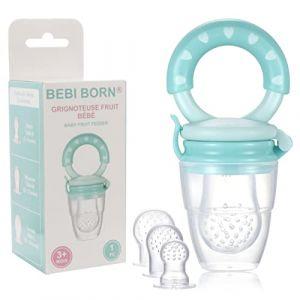 Tétine d'Alimentation pour Bébé - 1 Grignoteuse Bébé + 3 Tétines silicone (3 à 24 mois) sans BPA - Anneau de Dentition + Boite Rangement inclus - Tétine Grignoteuse Bébé Bebi Born - Tetine Fruits Bebe (LNC SHOP, neuf)