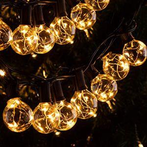 11,7M LED Guirlande Lumineuse Guinguette G40 Ampoule 30 + 3 de Rechange ?IP65 / avec Crochet?Quntis Décoration Étanche à Boule Intérieure/Extérieure Blanc Chaud pour Fête Noël Chambre Jardin Party (Ulinek, neuf)