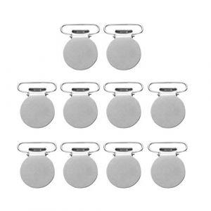 Healifty 10Pcs Pinces à Bretelles Rondes Clips de Tétine en Métal Faisant Des Supports de Tétine Sangle Crochets pour Femmes Hommes (Ibrihamn, neuf)