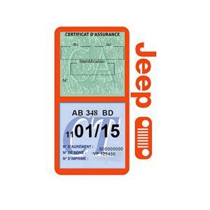 Générique Étui Double Assurance Jeep Calandre Noir Porte Vignette adhésif Voiture Stickers Auto Retro (Stickers-auto-retro, neuf)