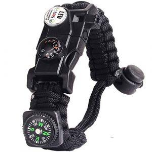 Bracelet Paracorde Survie pour Homme Femme, Militaire Paracord Bracelet Kit avec Flint + Boussole + Thermomètre + Sifflet + Lumière LED pour Extérieur, Randonneur, Baroudeur, Explorateurs (Noir) (BXooo, neuf)
