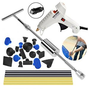 PDR Paintless Débosselage Réparation Super PDR 25 PCS Marteau coulissant Kit Debosselage Outillage Carrosserie Voiture Automobile Rayure Suppression Dent Reparation Auto (HIP TEC, neuf)