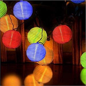 Ibello Guirlande Lumineuse Solaire 3,2M 20LEDs Guirlande Boule Extérieur Intérieur Led Papier Lampion Multicolore Lanterne Décoraion Chambre Maison Jardin Mariage Noël Anniversaire (XiheRicco, neuf)