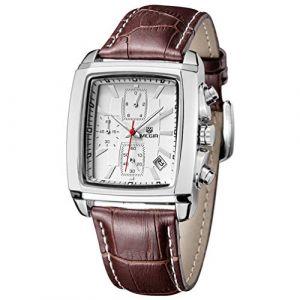 Montre Homme carré - Bracelet Cuir Marron - Quartz Analogique - Vintage Chronographe Imperméable - Cadran Blanc (Thread Trade, neuf)