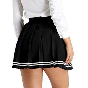 inlzdz Femme Fille Jupe Scolaire Uniforme Mini Jupe Plissée Courte Evasée Femme Uniforme Ecolière Déguisement Japonaise Jupe Danse Sport Jupe de Soirée Cérémonie Taille Haute Noir A XL (inlzdz eu, neuf)