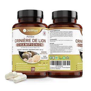 LIONS MANE HERICIUM ERINACEUS - Crinière de Lion Concentration 10X 10:1 Extrait - Complement Alimentaire Cerveau Clair - Concentration et Mémoire - 120 Capsules Végétaliennes - 5000mg par Portion (JeaKen Ltd, neuf)