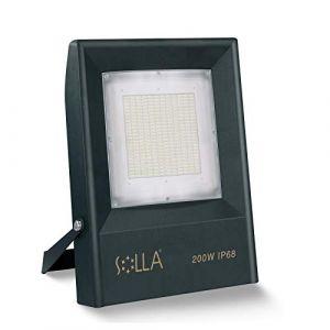 SOLLA 200W Projecteur LED extérieur, 18000LM, 6000K (éclairage Blanc lumière du Jour) Projecteur de sécurité, Projecteur LED IP68 pour Arrière-Cour, Jardin, Entrepôt, Toit, Garages (LED Floodlight, neuf)