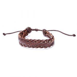 Buelgma Hommes Simples Tissage Bracelet Personnalité Rétro Bracelet Poignet Décoration Chaîne Bijoux Cadeau Pour Femmes Hommes (Marron Foncé) (BHCGY, neuf)