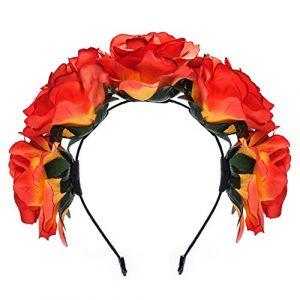 Beito Belle Rose Couronne Guirlande Bandeau Festival De Mariage Fleur Bandeau Enfants Décoratif Cheveux Accessoires(Orange) (KingLears, neuf)