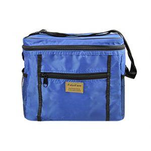 Sac Isotherme Sacoche à Déjeuner Repas Lunch Box Bag Boîtes Alimentaires Isothermes Glacières Imperméable Pliant Sac à Bandoulière/Main pour Voyage/Camping/Pique-nique/Travail/Boulot-Saphir (Greenery HK, neuf)