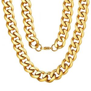 """ChainsPro Collier Chaîne Homme Or 18 Carat 12MM,Collier Grosse Maille Gourmette,Chaîne Cubaine Grosse Doré Homme,Collier Hippie Chic,Collier Homme Rock Chaîne Collier Homme 26""""(66cm) (ChainsPro Official Store, neuf)"""