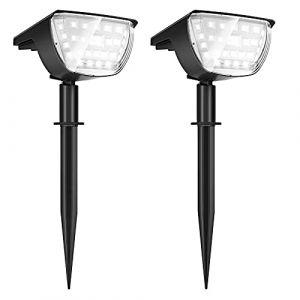 ?2 Pack 32 LED?Spot Solaire Extérieur, Jior Eclairage Extérieur Solaire IP67 Etanche clairage Applique 3 modes, Réglable 180° Eclairage Extérieur Solaire pour Jardin, Cour, Extérieur, Chemin, Allée (yongyangshop, neuf)