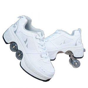 Fbestxie Roue Chaussures de Sport Chaussures de Skate à roulettes Chaussures roulettes Fille Et garçon Entraînement Roller Skate Chaussures avec roulettes Doubles Bouton Poussoir,34 (zhee, neuf)
