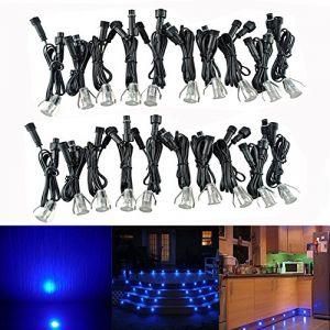 20x Mini Ø18mm Spot de Lampe LED Luminaire Encastrables pour Terrasse Enterre - Acier inoxydable 0.4W DC 12V Etanche IP67 Extérieur Eclairage Encastré Décorer Patio Jardin Escalier, Bleu (CHENXU, neuf)