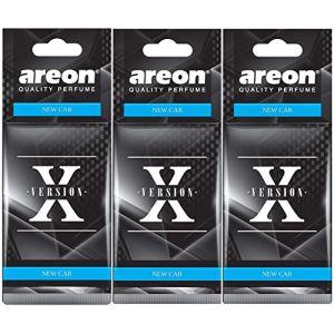 AREON X Désodorisant Voiture Neuve Odeur Neuf Senteur Rétroviseur Pendu Noir 2D (New Car Lot de 3) (Bonus market, neuf)