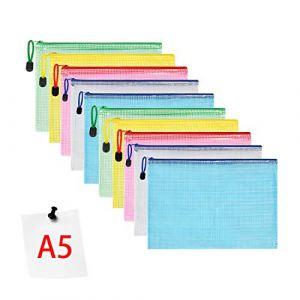 Vicloon 10PCS Pochette Document,Document Dossier Pochette PVC Zip,A5 Pochette Dossier Sachets Pour Stockage Document Recettes D'Entreprises Organisation (Vicloon®-FR, neuf)