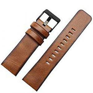 Bracelet Cuir Marron Bracelet 22 24 26mm en Cuir Bracelet de Montre, 2,22mm Argent Boucle (suizhoushizengdouquyuezichuanbaihuodian, neuf)