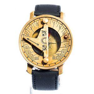 Montre Boussole Bracelet en Cuir Noir à Cadran Solaire doré Vintage Steampunk (JAPAN ATTITUDE, neuf)