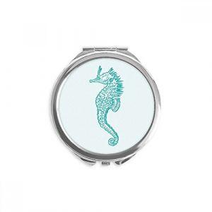 DIYthinker hippocampus marine life motif bleu miroir rond maquillage de poche à la main portable 2,6 pouces x 2,4 pouces x 0,3 pouce Multicolore (bestchong, neuf)