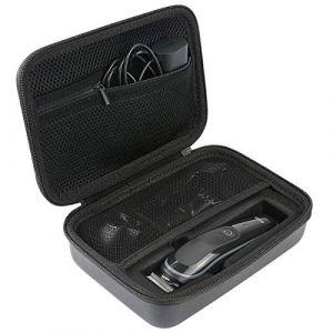 Khanka Dur Cas étui de Voyage Housse Porter pour Braun Tondeuse 6-En-1 Tout-En-Un MGK3021 /MGK5080 Tondeuse Barbe Et Cheveux ?Fermeture éclair verte? (Khankastore-EU, neuf)