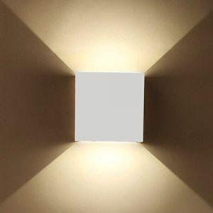 Etime Lampe murale LED Applique Murale Extérieure étanche avec angle d'éclairage réglable Éclairage mural intérieur LED IP65Blanc chaud Moderne Weiß 12W (Erwei, neuf)