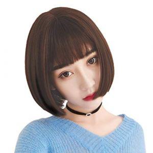 Perruque, perruques de dentelle de cheveux synthétiques sans danger pour le chocolat de couleur chocolat, espace de séparation décent, dentelle transparente, pour cuir chevelu blanc ou pâle (CanMaoWu, neuf)