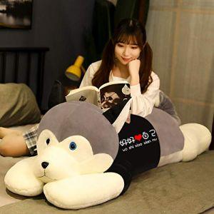 Peluche jouet husky oreiller de sommeil chiffon poupée femelle mignon poupée cadeau d'anniversaire-Modèles gris-aimez-vous_85cm (lizhaowei531045832, neuf)
