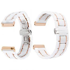 Bracelet Watch Céramique, Qianyou pour Fitbit Versa Strap Bracelet de Remplacement Bande de Montre Adjustable avec Boucle Deployante en Métal Unisex Blanc-5 Rangées (Qiyou, neuf)