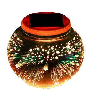 Lampe Solaire 3D Veilleuse,SUAVER Verre Boule Lampe RGB Solaire Lanterne Lampe de Table Jardin Déco Atmosphère Éclairage Chambre Bébé Enfant Salon Chevet Balcon Intérieur Extérieur (Étoile) (SUAVER Direct, neuf)