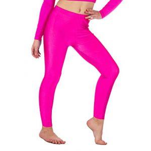 Legging de gymnastique/danse - pour fille - Lycra/élastiqué - sans sous-pied - brillant/fluo - Rose fluo - 3-4 ans (Re Tech UK, neuf)