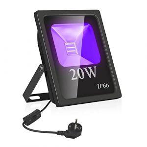 UV Projecteur LED Extérieur,Eleganted Imperméable IP66 Ultraviolet Led Lumière Noire Lampe 20W Blacklight,Ultra-Violet Eclairage pour Fête étape Magasin d'art Centre d'Exposition La Peinture (20W) (GoldenSea02, neuf)