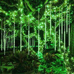 10 Tubes 30CM LED Météore Pluie Lumineuses Guirlandes Solaire,DINOWIN Lumineux Etanche Extérieur Douche Pluie Feux pour Noël Mariage Fête Soirée Maison Arbre Sapin Jardin (vert) (RODMA, neuf)