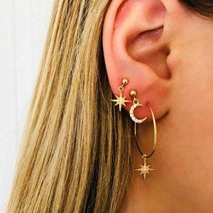 Yienate Boucles d'oreilles à tige avec strass en forme de lune et d'étoile (Yienate, neuf)
