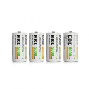 EBL 4pcs Piles Rechargeables C 5000mAh Ni-MH 1.2V, Type C Baby C LR14 Batterie Rechargeable 1200 Cycles (EBL Official, neuf)